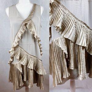 Gap Taupe Ruffle Pleat Sleeveless Flapper Dress